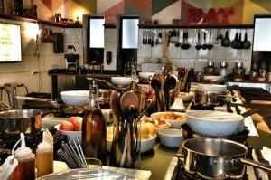 Billede fra køkkenet design til madlavningskursus for mænd